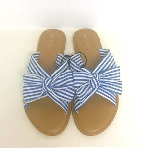 West Loop Blue and White Stripe Fabric Sandals